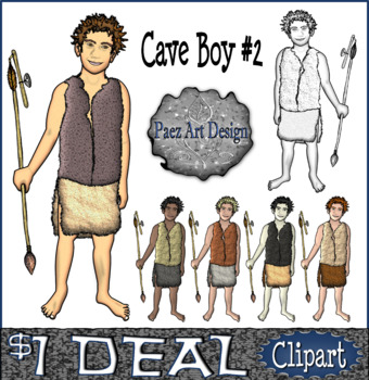 Prehistoric People CLIPART: Cave Boy #2 {Paez Art Design}