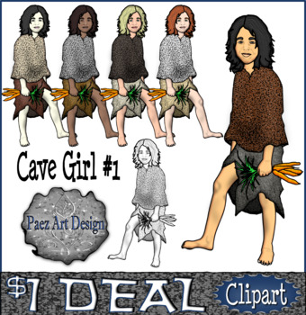 Paleolithic People CLIPART: Cave Girl #1 {Paez Art Design}