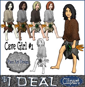 Prehistoric People CLIPART: Cave Girl #1 {Paez Art Design}