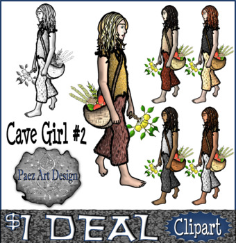 Paleolithic People CLIPART: Cave Girl #2 {Paez Art Design}