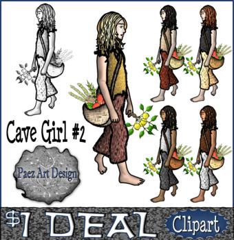 Prehistoric People CLIPART: Cave Girl #2 {Paez Art Design}