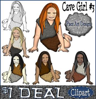 Paleolithic People CLIPART: Cave Girl #3 {Paez Art Design}