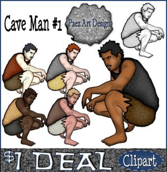Paleolithic People CLIPART: Cave Man #1 {Paez Art Design}