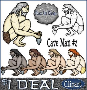 Prehistoric People CLIPART: Cave Man #2 {Paez Art Design}