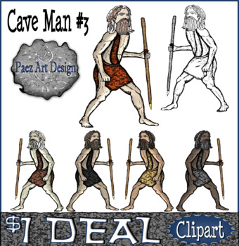 Paleolithic People CLIPART: Cave Man #3 {Paez Art Design}