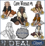 Paleolithic People CLIPART: Cave Woman #1 {Paez Art Design}