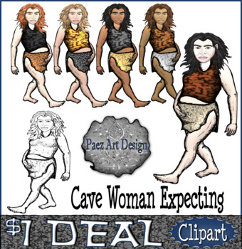 Paleolithic People CLIPART: Cave Woman Expecting {Paez Art Design}