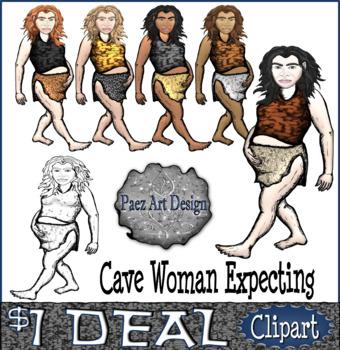 Prehistoric People CLIPART: Cave Woman Expecting {Paez Art Design}