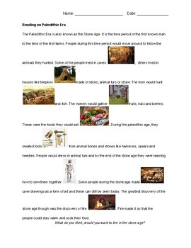 Paleolithic / Stone Age Reading, Picture Sort, Opinion Worksheet and Test