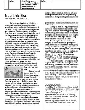 Paleolithic and Neolithic Eras Activity Packet (Social Studies Framework)