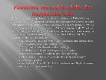 Paleolithic and Neolithic Eras Complete Unit