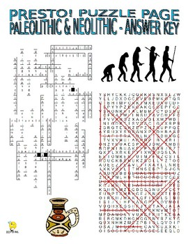 Paleolithic and Neolithic Puzzle Page (Wordsearch and Criss-Cross)