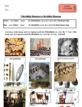 Paleolithic vs Neolithic Entrance/Exit Ticket Social Studies