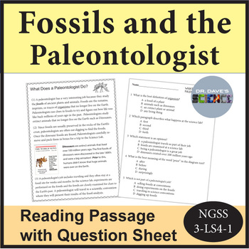 Fossils and Paleontologist Reading Comprehension
