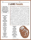 Paleontology Worksheet - Fossils Word Search