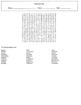Paleozoic Life Word Search with Key