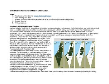 Palestine and Israel: United Nations Socratic Seminar Simulation