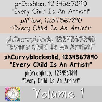 Palette and Hue Fonts: Volume 1:  Fonts for Personal and Commercial Use!