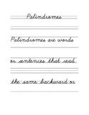 Palindromes Cursive Copywork