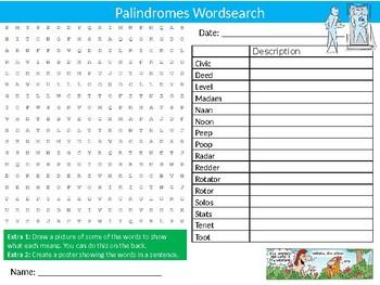 Palindromes Wordsearch Puzzle Sheet Keywords English Language Vocabulary