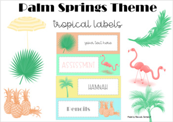 Palm Springs Tropical Theme Labels