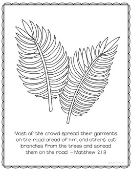 Palm Sunday Coloring Page Craft or Poster, Bible Verse, Easter