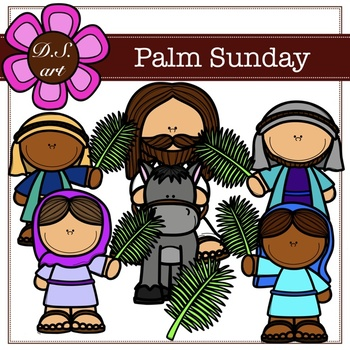 Palm Sunday Digital Clipart (color and black&white)