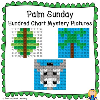 Palm Sunday Hundred Chart Mystery Pictures with Bible Clues & Number Cards