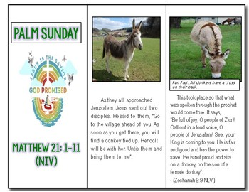 Palm Sunday Trifold Mini Story about Matthew 21 1-11