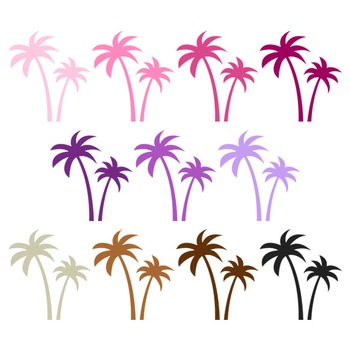 Palm Tree Clipart - 22 digital palm trees / 2x3 inches - A00108