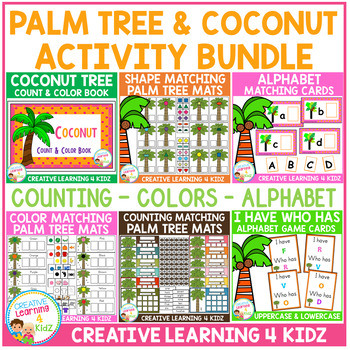 Palm Tree & Coconut Themed Activity Bundle - Alphabet, Colors, and Counting