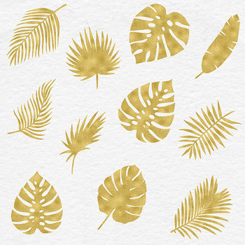Palm Tree Leaves, Gold Tropical Clipart