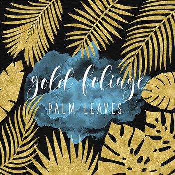 Palm Tree Leaves, Gold Tropical Clipart, Gold Palm Leaf