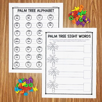 Palm Tree Mini Eraser Activities - Letters and Words