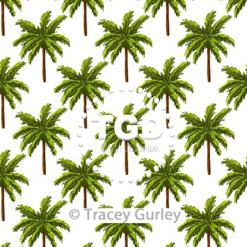 Palm Tree Pattern Repeat on White digital paper Printable