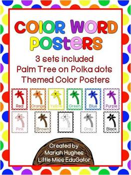 Palm Tree Themed Color Word Posters