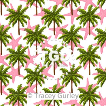 Palm Tree and Pink Starfish Pattern Repeat on White digital paper Printable