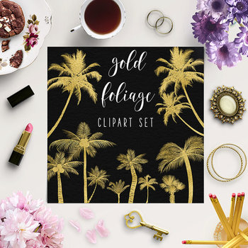 Palm Trees Clipart, Tropical Foliage Elements, Gold Palm Tree