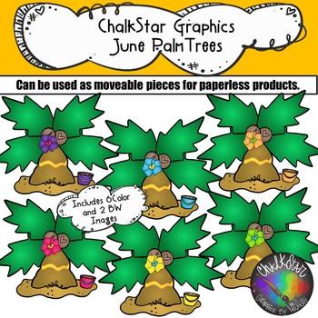 Palm Trees June Clip Art –Chalkstar Graphics
