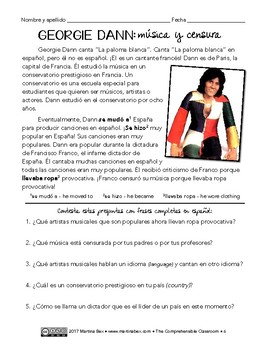 Paloma blanca by Georgie Dann song activities for Spanish classes