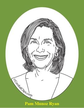 Pam Munoz Ryan Realistic Clip Art, Coloring Page, and Poster