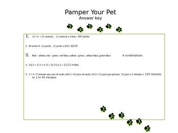 Pamper your Pet Problem Solving Worksheet