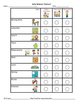 Pam's Personalized Behavior Chart