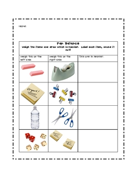 Pan Balance Weight Worksheet/Record Sheet