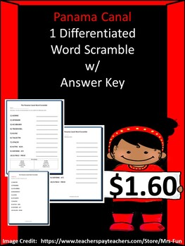 Panama Canal- Differentiated Word Scramble w/ Answer Key