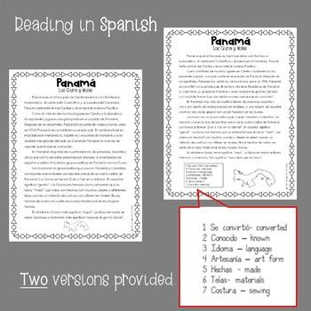 Panama Los Gunas y Molas A reading comprehension activity