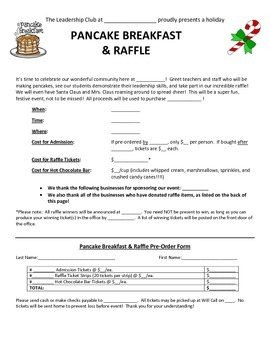 """""""How to Have Your Own Pancake Breakfast and Raffle Fundraiser"""" Packet"""
