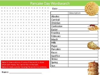 Pancake Day Wordsearch Puzzle Sheet Keywords Food Celebration Religion