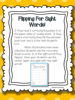 Pancake Flipping for Sight Words! {Fry's List 101 - 200}