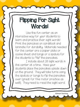 Pancake Flipping for Sight Words! {Fry's List 1 - 100}
